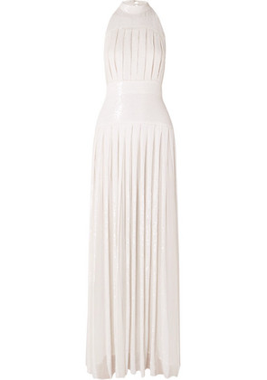 Temperley London - Pleated Sequined Chiffon Gown - White