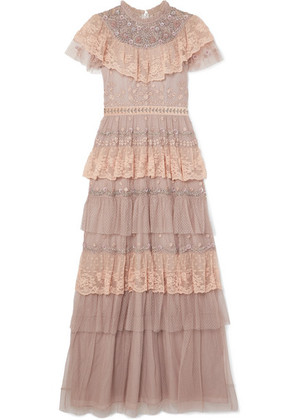 Needle & Thread - Cinderella Tiered Embellished Tulle And Lace Gown - Pink