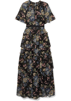 Needle & Thread - Tiered Floral-print Fil Coupé Chiffon Gown - Black