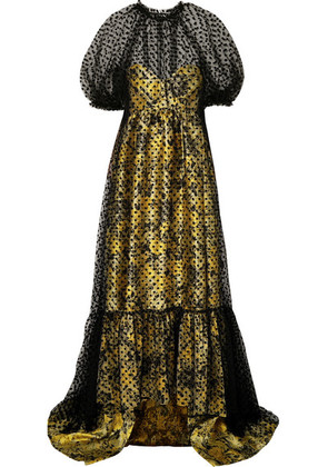 Erdem - Neave Floral-jacquard And Flocked Tulle Gown - Yellow