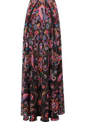 Etro - Printed Silk-crepe Maxi Skirt - Black