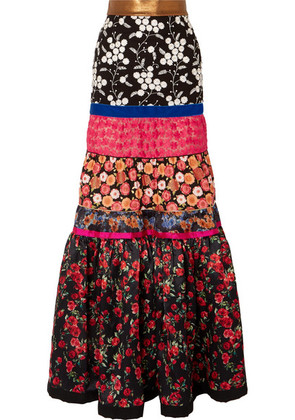 Ronald van der Kemp - Tiered Embroidered Tulle And Floral-print Silk-satin Maxi Skirt - Black