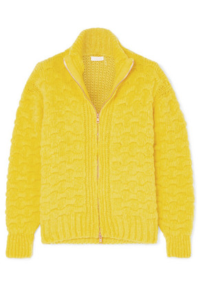 See By Chloé - Cable And Waffle-knit Alpaca-blend Cardigan - Chartreuse