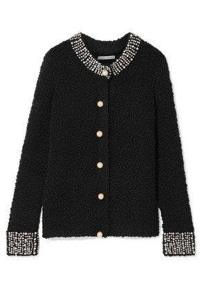 Alice + Olivia - Devona Crystal And Faux-pearl Embellished Wool-blend Bouclé Cardigan - Black