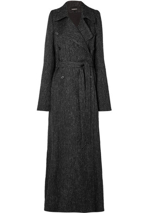 Ann Demeulemeester - Belted Double-breasted Tweed Coat - Black