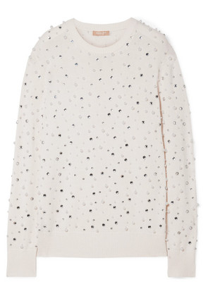 Michael Kors Collection - Faux Pearl And Crystal-embellished Cashmere Sweater - Ivory