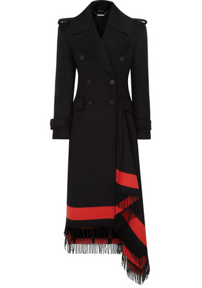 Alexander McQueen - Asymmetric Fringed Wool-blend Double-breasted Coat - Black