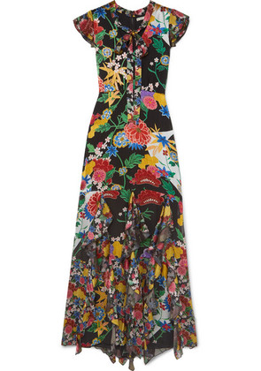 Alice + Olivia - Laurette Ruffled Floral-print Satin Maxi Dress - Black
