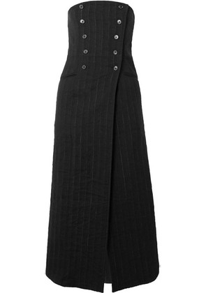 Ann Demeulemeester - Convertible Pinstriped Linen-blend Midi Skirt - Black