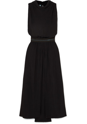 Prada - Draped Twill Midi Dress - Black
