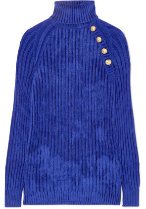 Balmain - Button-embellished Ribbed Chenille Turtleneck Sweater - Blue