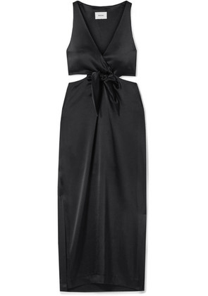 Nanushka - Regina Tie-front Cutout Satin Midi Dress - Black