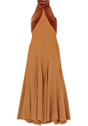 Haider Ackermann - Asymmetric Silk Crepe De Chine And Velvet Maxi Dress - Tan