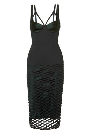 Dion Lee - Silk-trimmed Laser-cut Jersey Midi Dress - Army green