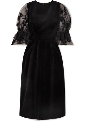 Mother of Pearl - Faith Velvet And Flocked Tulle Midi Dress - Black