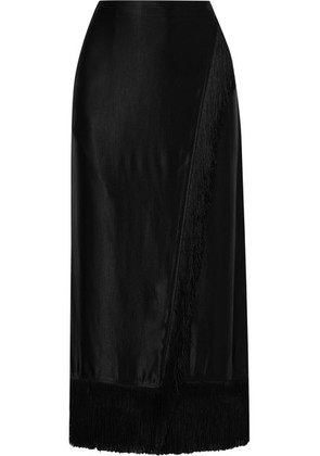Etro - Wrap-effect Fringed Satin Midi Skirt - Black