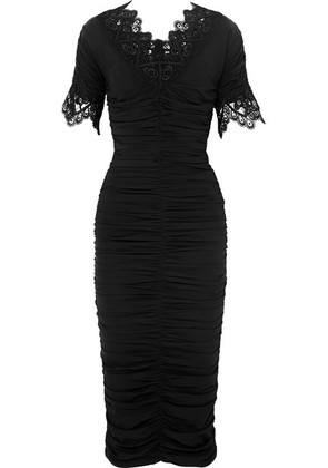 Dolce & Gabbana - Crocheted Lace-trimmed Ruched Silk-blend Georgette Dress - Black