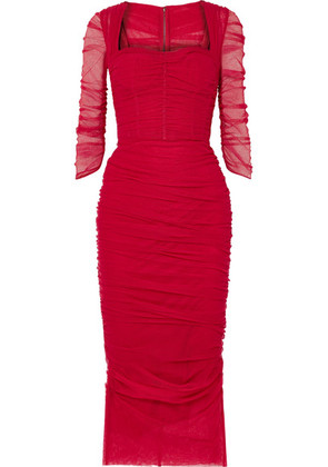 Dolce & Gabbana - Ruched Stretch-tulle Midi Dress - Red