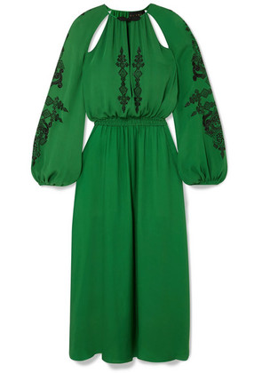 Dundas - Cutout Embellished Silk-crepe Midi Dress - Green