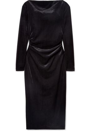 Rachel Zoe - Hudson Draped Ribbed Velvet Dress - Black