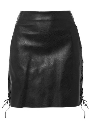 Stella McCartney - Lace-up Faux Textured-leather Mini Skirt - Black