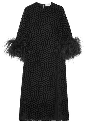 16ARLINGTON - Feather-trimmed Flocked Tulle Midi Dress - Black