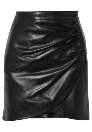 Givenchy - Wrap-effect Leather Mini Skirt - Black