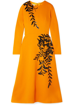 Oscar de la Renta - Embellished Wool-blend Midi Dress - Saffron
