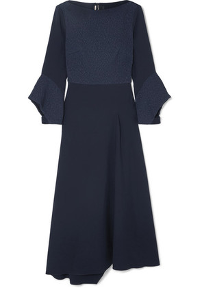 Roland Mouret - Hemming Cloqué And Crepe Midi Dress - Navy