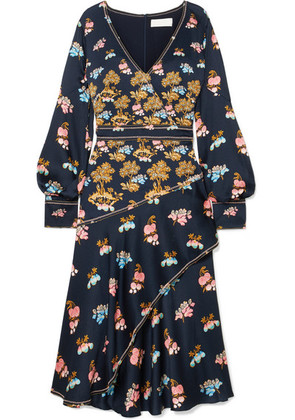 Peter Pilotto - Wrap-effect Printed Hammered-silk Midi Dress - Navy
