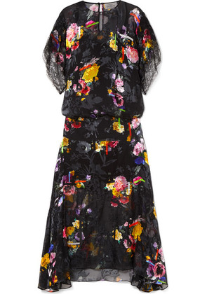 Preen by Thornton Bregazzi - Leonora Floral-print Devoré Silk-blend Satin Midi Dress - Black