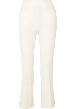 Roland Mouret - Goswell Cropped Crepe Flared Pants - White