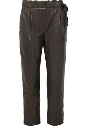 Brunello Cucinelli - Leather Pants - Gray