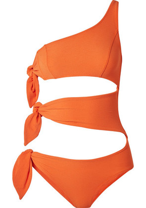 Lisa Marie Fernandez - Bianca One-shoulder Cutout Stretch-crepe Swimsuit - Orange