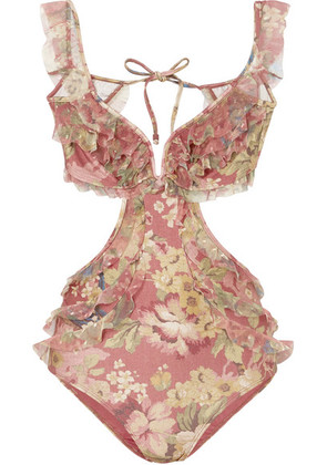 Zimmermann - Melody Off-the-shoulder Ruffled Floral-print Swimsuit - Burgundy