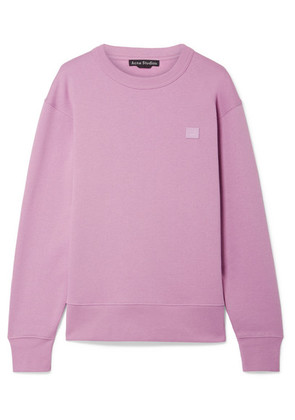 Acne Studios - Fairview Face Appliquéd Cotton-jersey Sweatshirt - Lilac