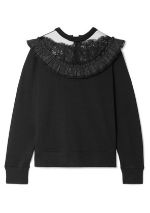 Marc Jacobs - Lace And Taffeta-trimmed Cotton-jersey Sweatshirt - Black