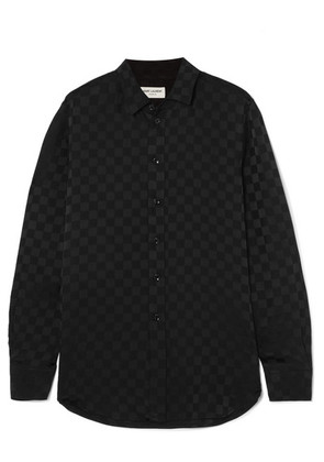 Saint Laurent - Checked Silk-jacquard Shirt - Black