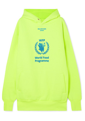 Balenciaga - + World Food Programme Printed Neon Cotton-blend Jersey Hoodie - Yellow