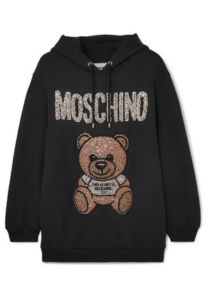 Moschino - Oversized Crystal-embellished Cotton-jersey Hoodie - Black