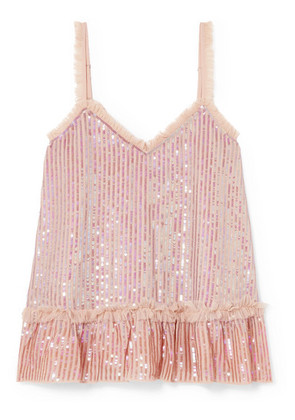 Needle & Thread - Tulle-trimmed Sequined Chiffon Camisole - Pink