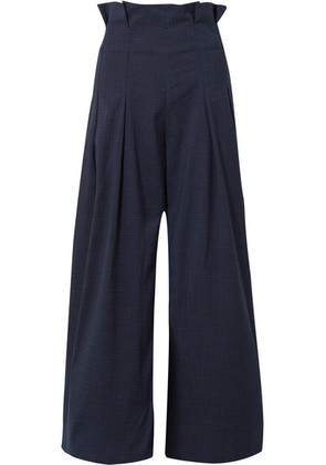PAPER London - Solo Checked Pleated Voile Wide-leg Pants - Midnight blue