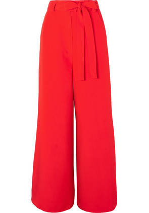 Etro - Belted Silk-crepe Wide-leg Pants - Red