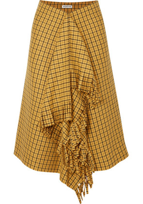 Balenciaga - Fringed Checked Tweed Midi Skirt - Yellow