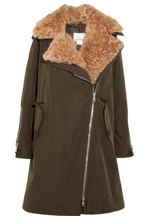Moncler - Aucuba Reversible Shearling And Twill Down Parka - Dark green