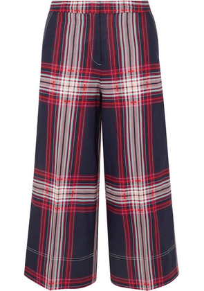 By Malene Birger - Ilan Cropped Checked Linen And Cotton-blend Wide-leg Pants - Blue