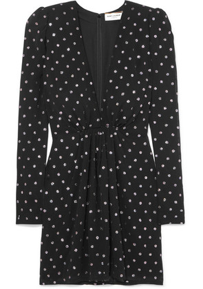 Saint Laurent - Glittered Polka-dot Crepe Mini Dress - Black