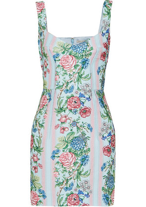 Emilia Wickstead - Judita Floral-print Cloqué Mini Dress - Blue