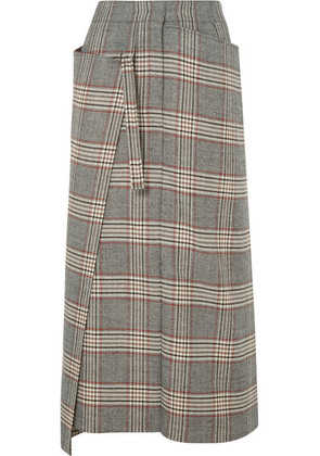 Joseph - Beck Checked Wool Midi Skirt - Gray