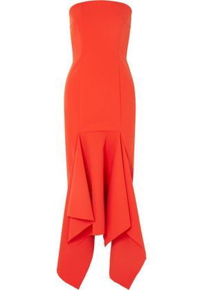 Solace London - Veronique Strapless Asymmetric Crepe Midi Dress - Red